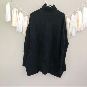 Caslon Black Chunky Knit Mock Neck Ribbed Sweater